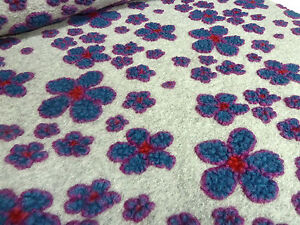 stoff ital musterwalk walkloden relief blumen hellgrau blau rot fuchsia ebay. Black Bedroom Furniture Sets. Home Design Ideas