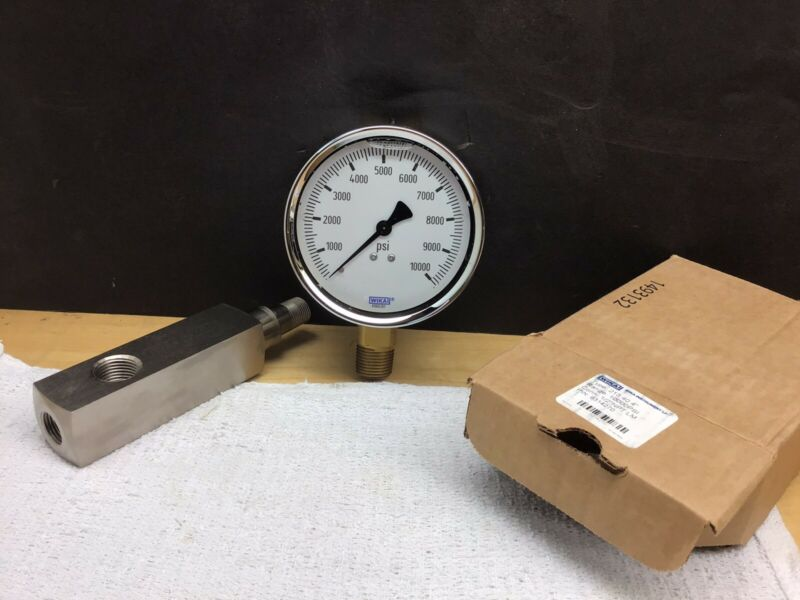 "Enerpac GA2 Gauge Adaptor And Wika 0-10000 Psi 4"" Gauge"