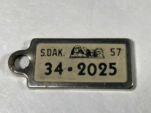 1957 South Dakota License Plate DAV Key Tag Disabled American Veteran