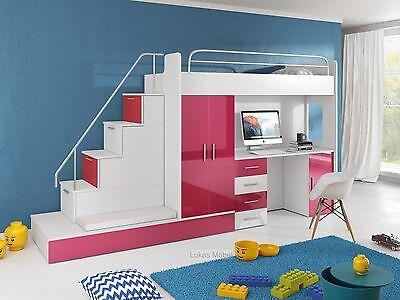 Etagenbett Hochbett Felix Hochglanz 2 x Bett Schrank Schreibtisch Farbauswahl (Etagenbett Schlafzimmer-sets)