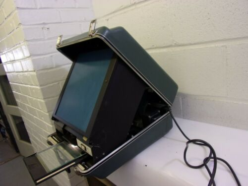 Vintage WSI Portable Microfiche Reader Suitcase Viewer Tested Working