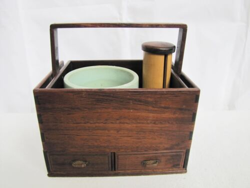 Antique Late 19th Century Japanese Wooden Smokers set Tobacco-bon