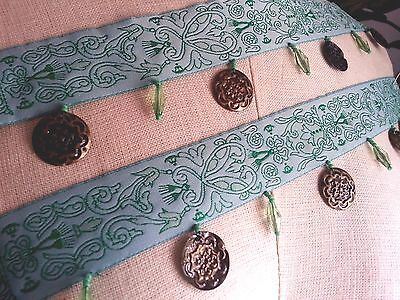 """2"""" BROCADE Band BELLY DANCE Bead & Coin style Fringe Trim BTY - GREEN"""