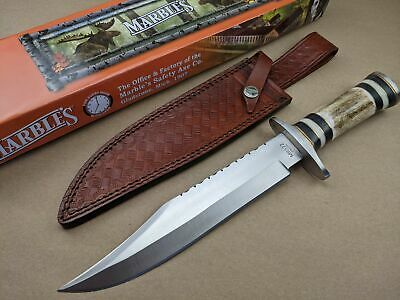 Marbles Bowie Knife - Stag, Black, White Bone Handle - Leather Sheath - MR572