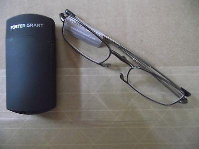 Foster Grant Gideon Gun Flat Folding Reading Glasses +1.00 to (Flat Glasses)