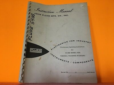 Fluke Model 540b Thermal Transfer Standard Operating Instruction Manual