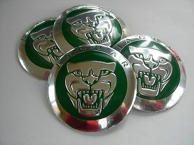 JAGUAR GROWLER WHEEL CENTER CAP EMBLEMS SET ALUMINUM STICKERS DECAL CONED GREEN