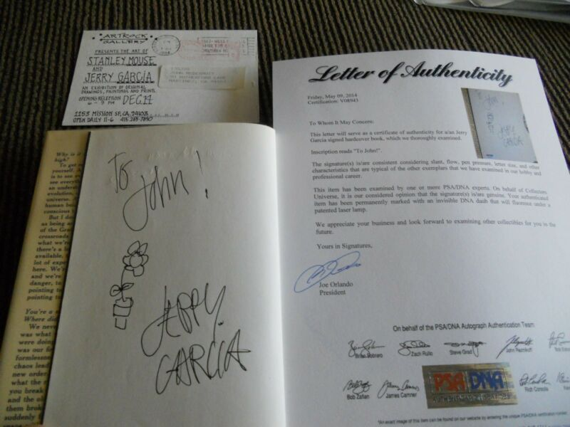 Jerry Garcia Grateful Dead签名亲笔签名HB Book W / Sketch PSA认证