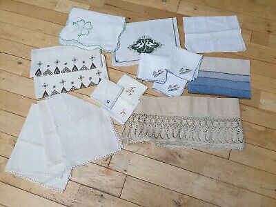 Assortment of Vintage Linen Place Mats Napkins Chair Covers