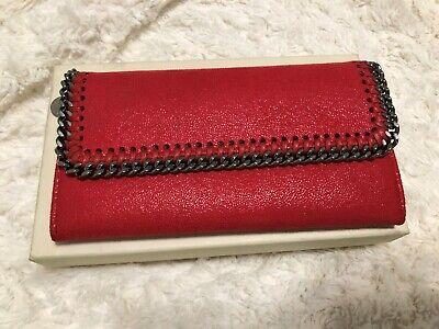 Stella McCartney Falabella Shaggy Deer Continental Half Flap Clutch Wallet Red