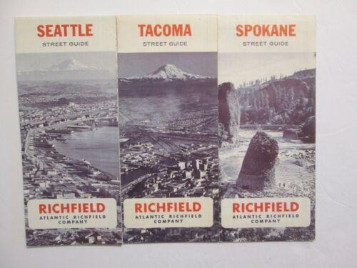 3 Atlantic Richfield Maps - Seattle 1967 Spokane 1967 Tacoma 1966
