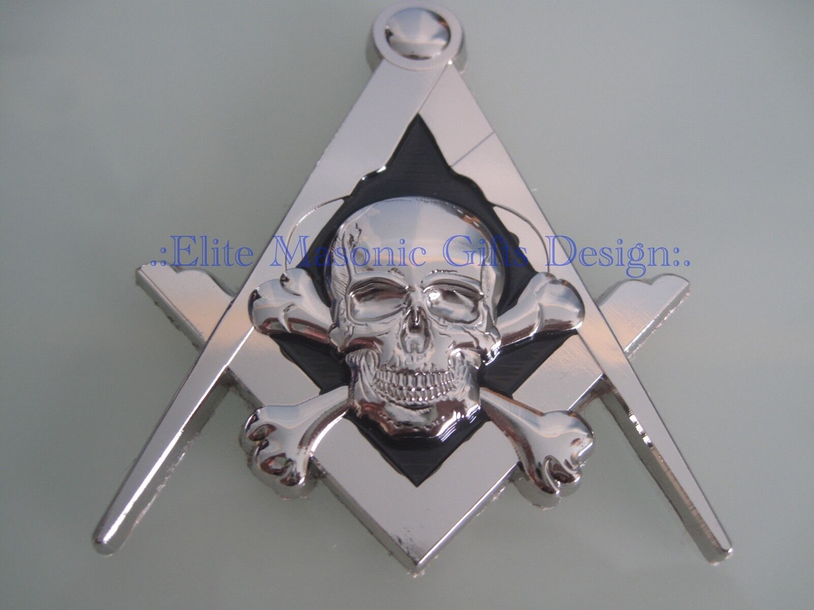 New3D Masonic Master Mason Skull Car Emblem, [Silver] EliteMasonicGiftsDesign...