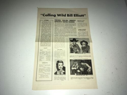 CALLING WILD BILL Movie Press Sheet Wild Bill Elliott Western Pressbook r50s