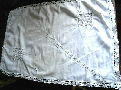 VINTAGE WHITE PILLOWCASE LAWN CROCHET WHITEWORK FINE LUXURY BED ANTIQUE