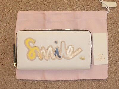 RADLEY LARGE CREAM LEATHER *SMILE* ZIP AROUND MATINEE PURSE NEW WITH TAG RRP £85