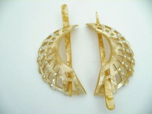 Vintage Pearly Lucite Hair Clip Pin Comb With Rhinestones Set Of Two