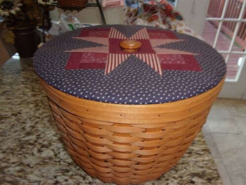 LONGABERGER  CORN BASKET WITH PROTECTOR AND FABRIC LID