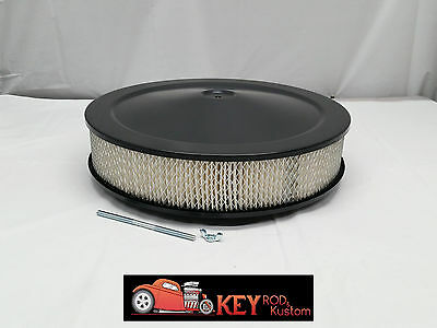 "14"" round black air cleaner assembly kit flat  base 3"" filter SBC BBC"