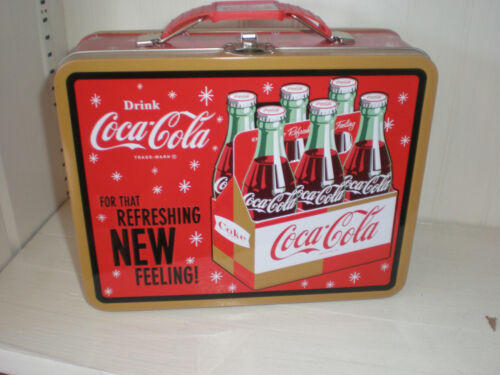 "New * Classic Coca Cola Tin Lunch Box ""For That Refreshing NEW Feeling"""
