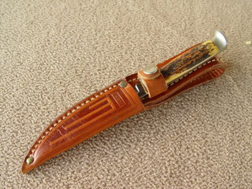 "Vintage CASE 3"" Chrome Fix Blade Knife with Leather Sheath 1940-1965 Rare"