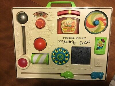 Vintage FISHER PRICE Activity Center #134 1973 Baby Toddler Crib Busy Board Toy