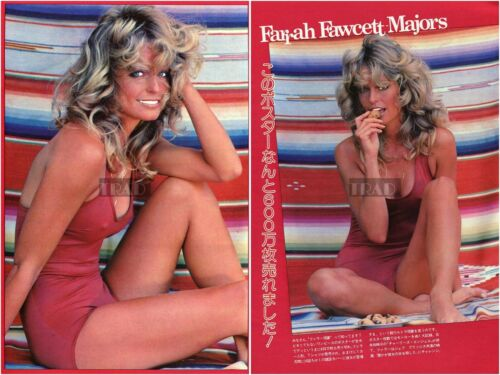 FARRAH FAWCETT MAJORS in Swimsuit 1978 Japan Picture Clipping 2-SHEETS ti/v