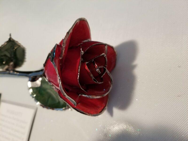 Platinum Dipped Real RED Rose