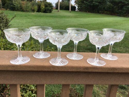 CHAMPAGNE COUPE GLASSES AMERICAN BRILLIANT PERIOD CUT GLASS CIRCA 1915 SET (6)