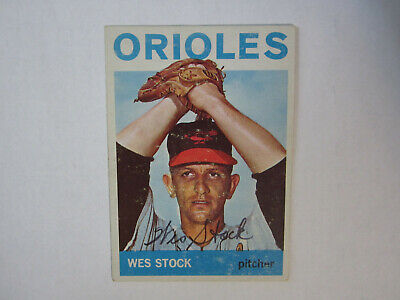 1964 Topps # 382 Wes Stock Autograph Signed Card (M) Baltimore Orioles