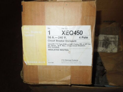 Siemens Xeq450 50a Max 3ph 4w 240v Ite Xjl Breaker Plug Enclosure Only Surplus