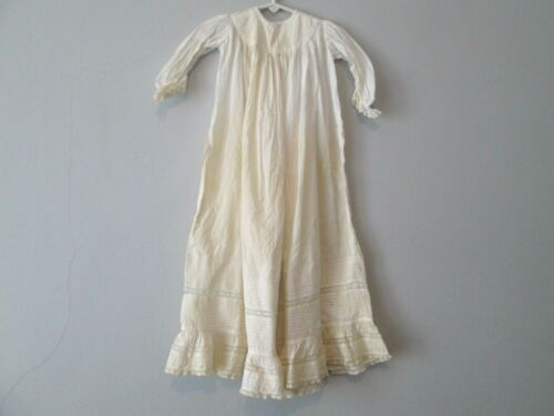 Antique Christening Gown White Cotton Pintucking Lace 1900s Victorian Edwardian