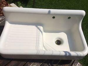 "Antique Cast Iron Porcelain 42"" Kitchen Farm Sink Drainboard"