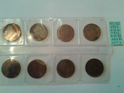 8 pièces de monnaies France ,5  centimes de 1854 , 1856 , 1865.