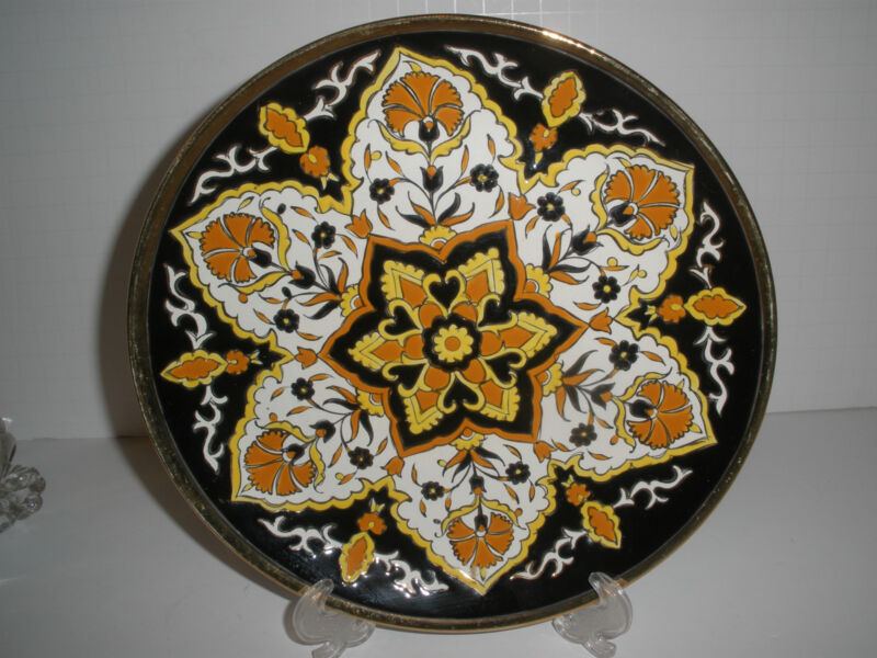 Vintage Enameled Black Orange White Gold Lindos Keramik Plate Rodos Greece