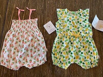 BURTS BEES BABY- set of 2 Girls BUBBLE SUMMER ROMPERS Watermelon Lemon 24 months