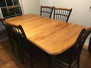 Solid wood kitchen table with six chairs