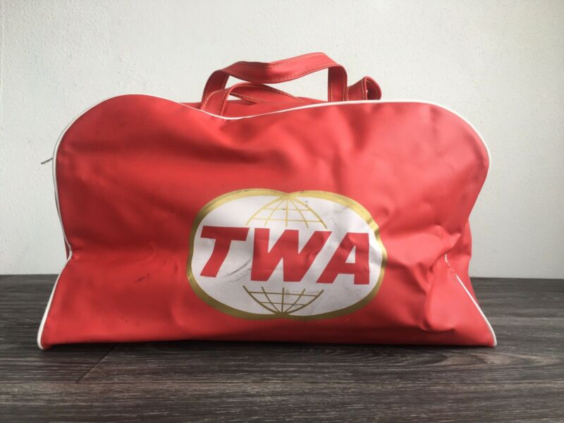 TWA Flight Bag 60s Vtg Trans World Airline Vinyl Carry On Duffle Luggage Travel