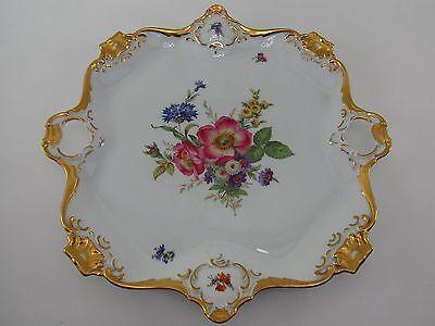Alka Kunst Bavaria Meißen Porzellan Schale Teller Kuchenplatte mit Goldrand