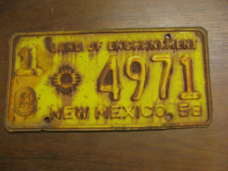 1958 58 NEW MEXICO NM LICENSE PLATE LAND OF ENCHANTMENT 10 4971