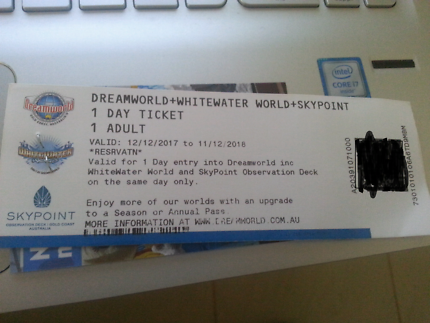 1 day Ticket dreamworld +whitewater + skypoint.  40$