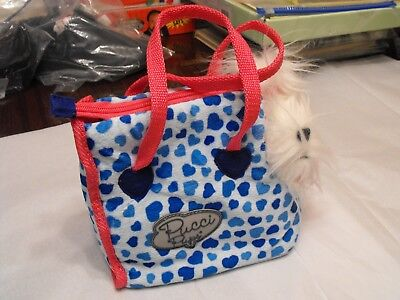 Pucci Pups Stuffed Yorkie  Pet Dog & Blue Hearts Carrier Purse Zip Battat
