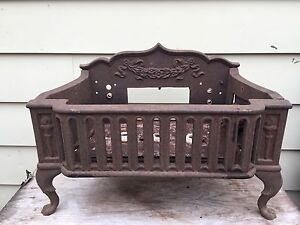 Vintage Cast Steel Fireplace Insert Electric Heater Ornate Deco
