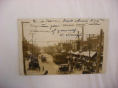 Real Photo Postcard Rppc State Street Car Trolley Belvidere Illinois Il  910
