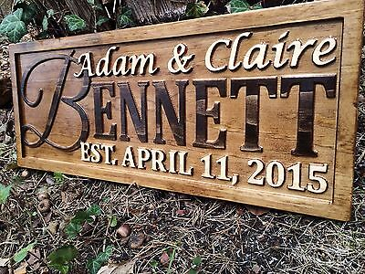 Personalized Wedding Gift Family Last Name Sign Custom Wood Couple Anniversary - Anniversary Signs