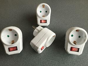 4 schaltbare Steckdosen mit Schalter Steckdosenschalter Stecker Steckerschalter