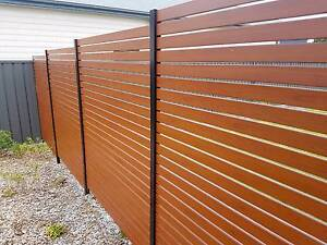 Aluminium Timber Look Horizontal Slat Fence/Screen & Gates Cardiff Lake Macquarie Area Preview