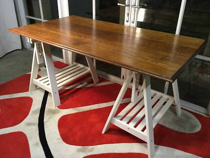 Superb Oak Top Trestle Table-Work-Dining Table-Can Deliver
