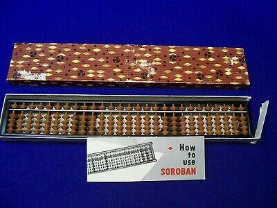 Vintage Tomoe Soroban Abacus No. 47100  27 Digit Wood In Box Instructions Japan