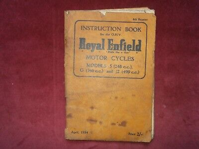 Instruction book for the ohv royal enfield motor cycles