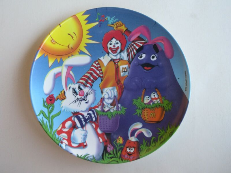 McDonalds Easter Plate 1996 - Ronald Grimace Bunny - Unused - 9 1/2 in. wide
